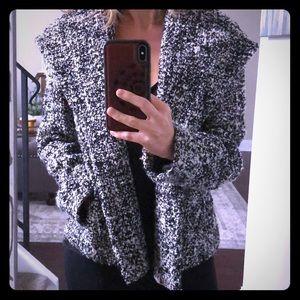 Black & White Wool Coat w/Hood